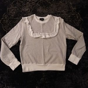 Monrow Ruffle Bib French Terry Sweatshirt Size XS